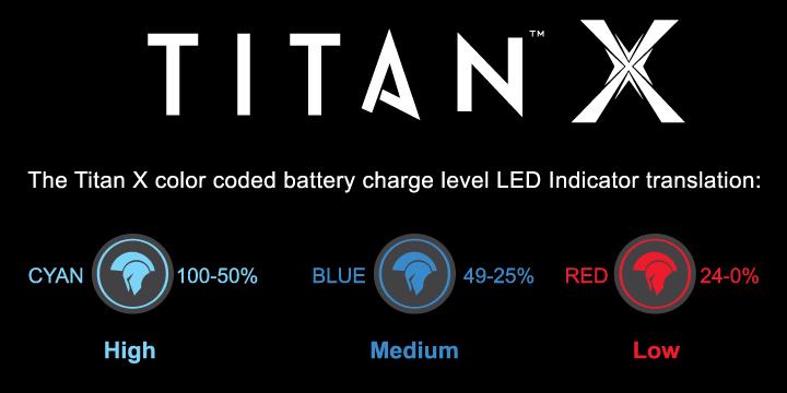 Titan X Vape pen battery charge levels